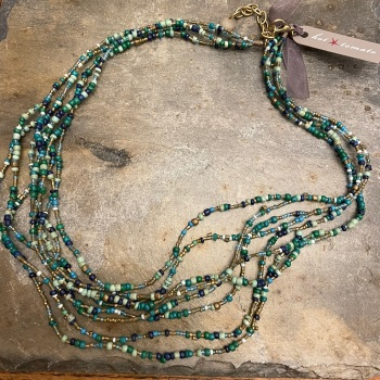 Multi-strand green beaded necklace