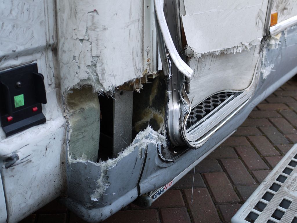 Side damage to motorhome