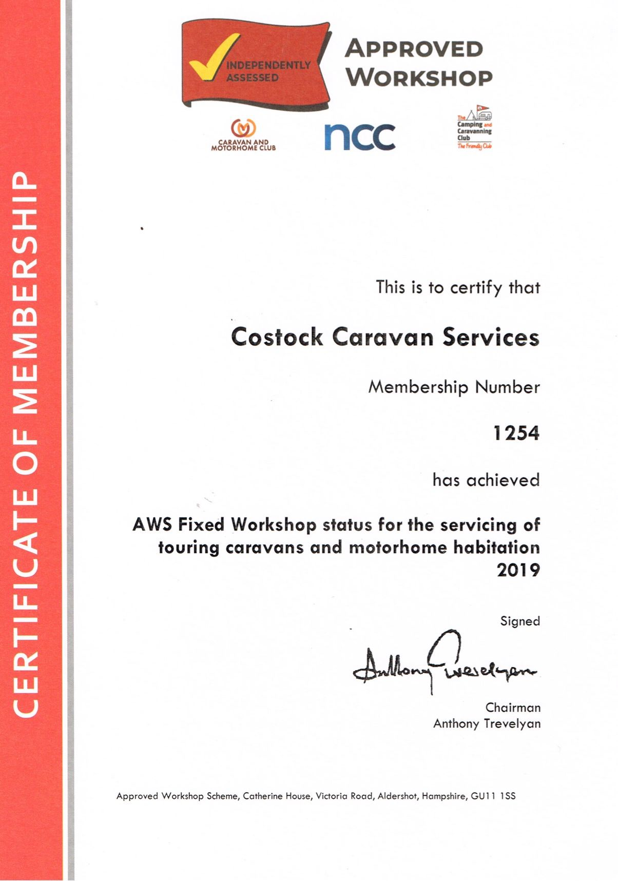 Approved Workshop Certificate