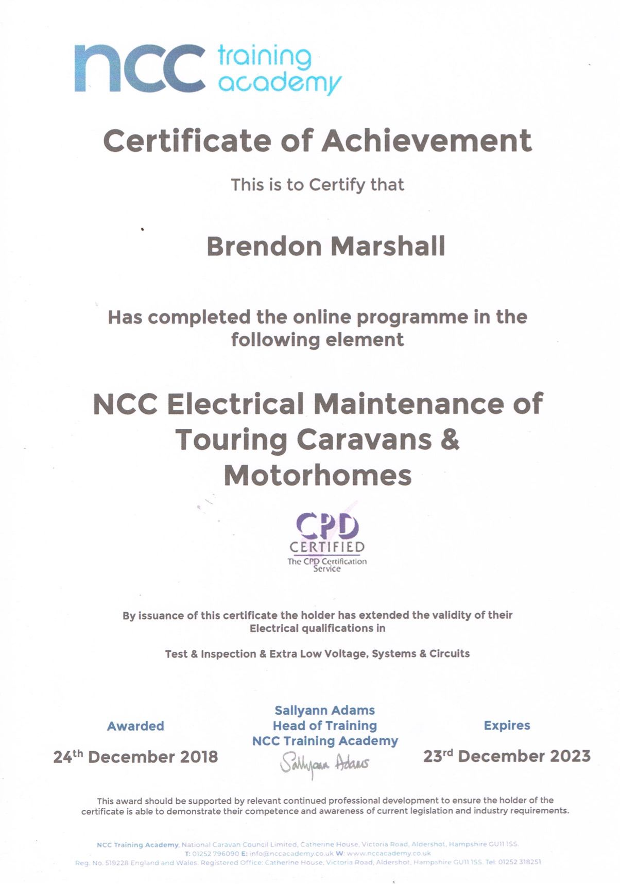 NCC electrical Maintenance Certificate