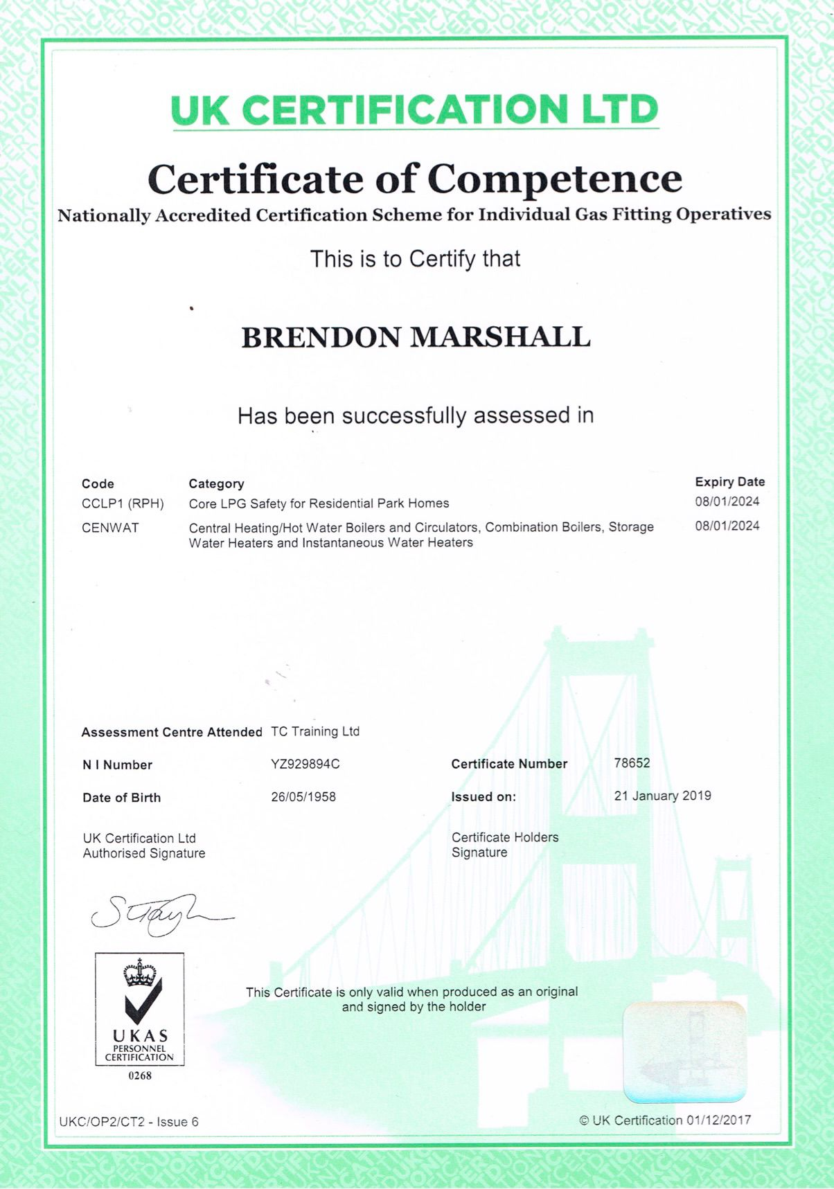 Certificate of Competence for Gas Fitting