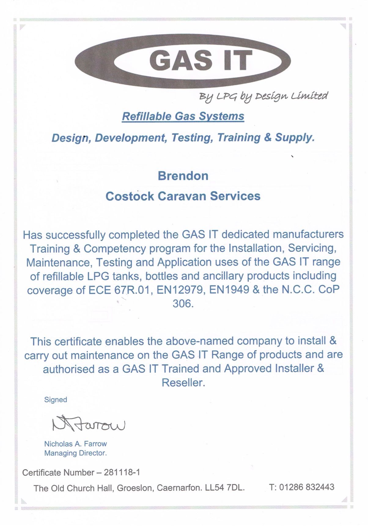 Gas-It Certificate