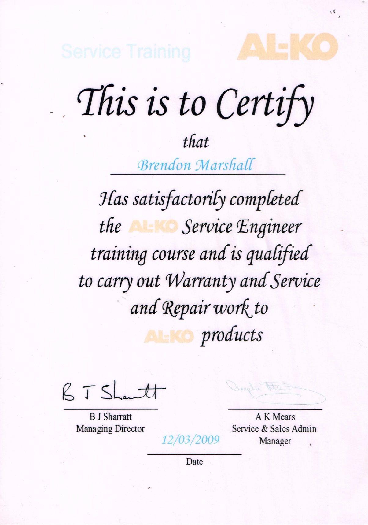 AL-Co Certificate