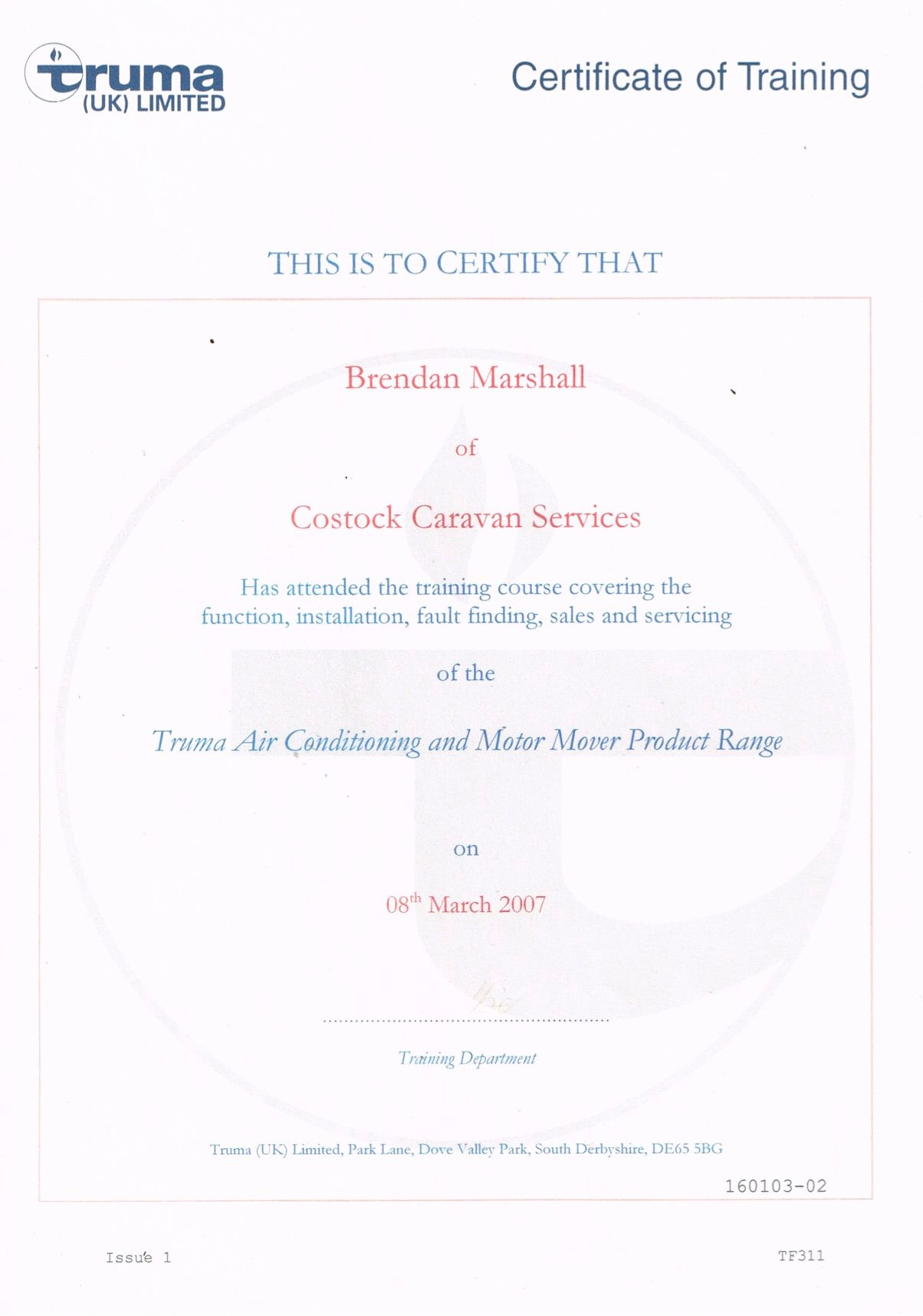 Air Conditioning Certificate