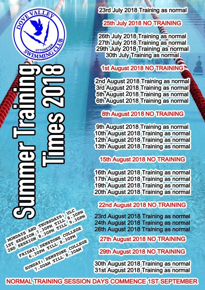 Summer Training Dates