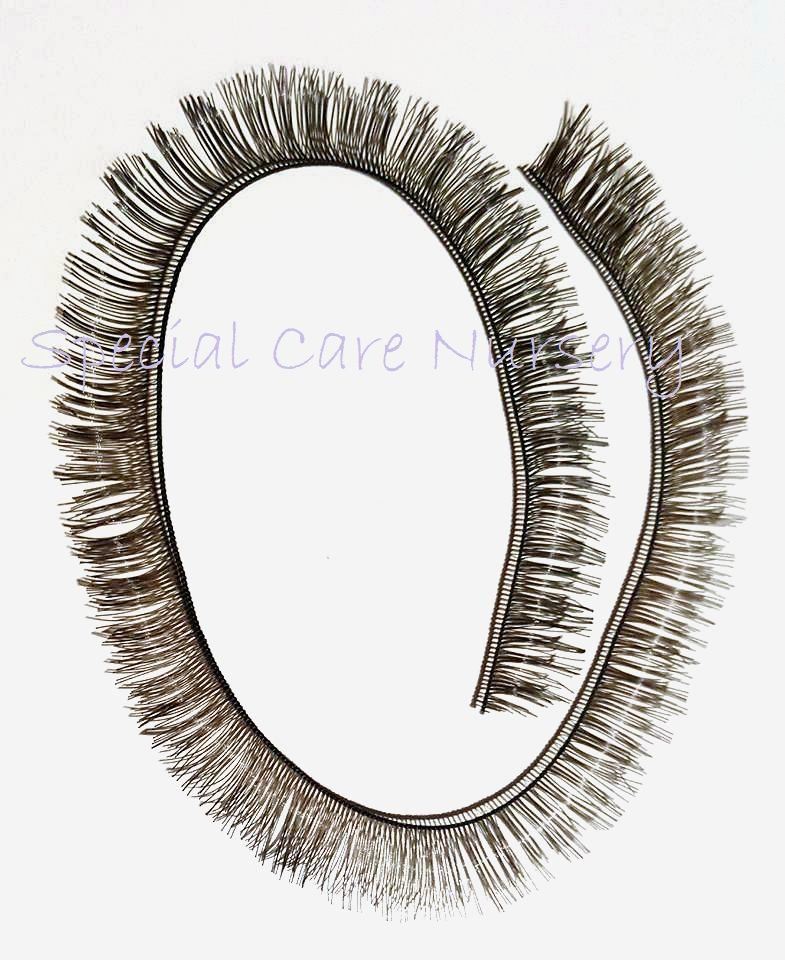 Black eyelash strip 8mm lashes - 20cm long