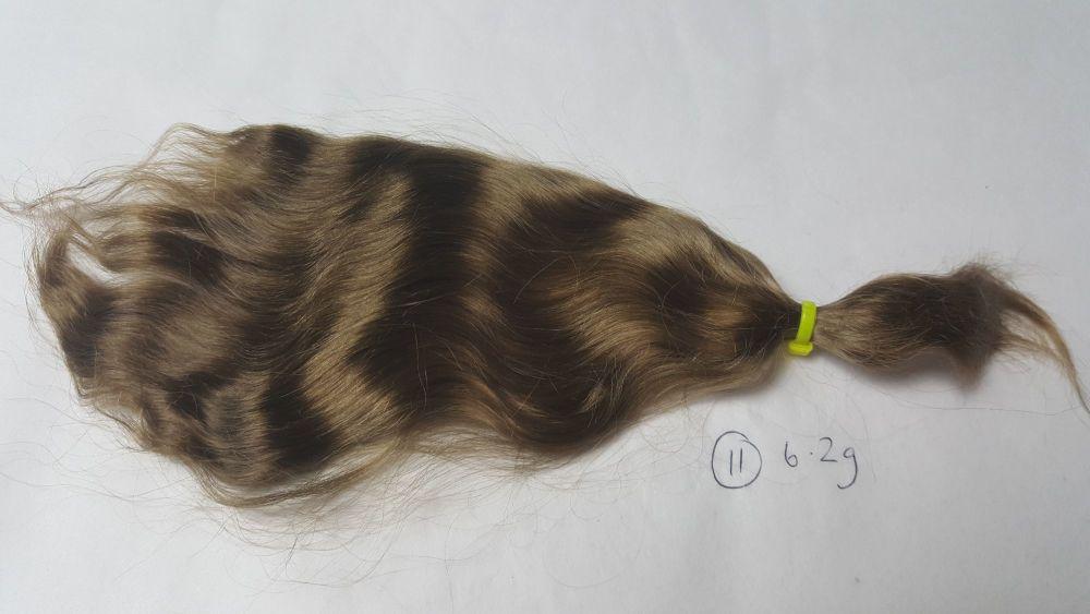 11 - Medium brown loose weave yearling - Mohair - 6.2g