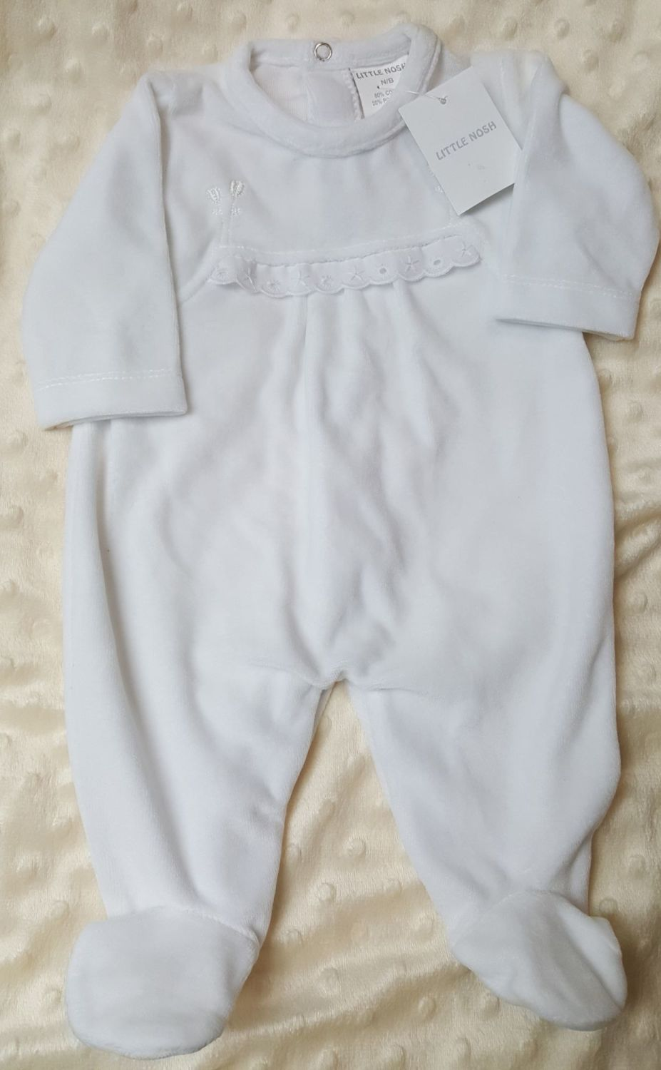 Little Nosh White Velour Baby gro NBG-LN100NT