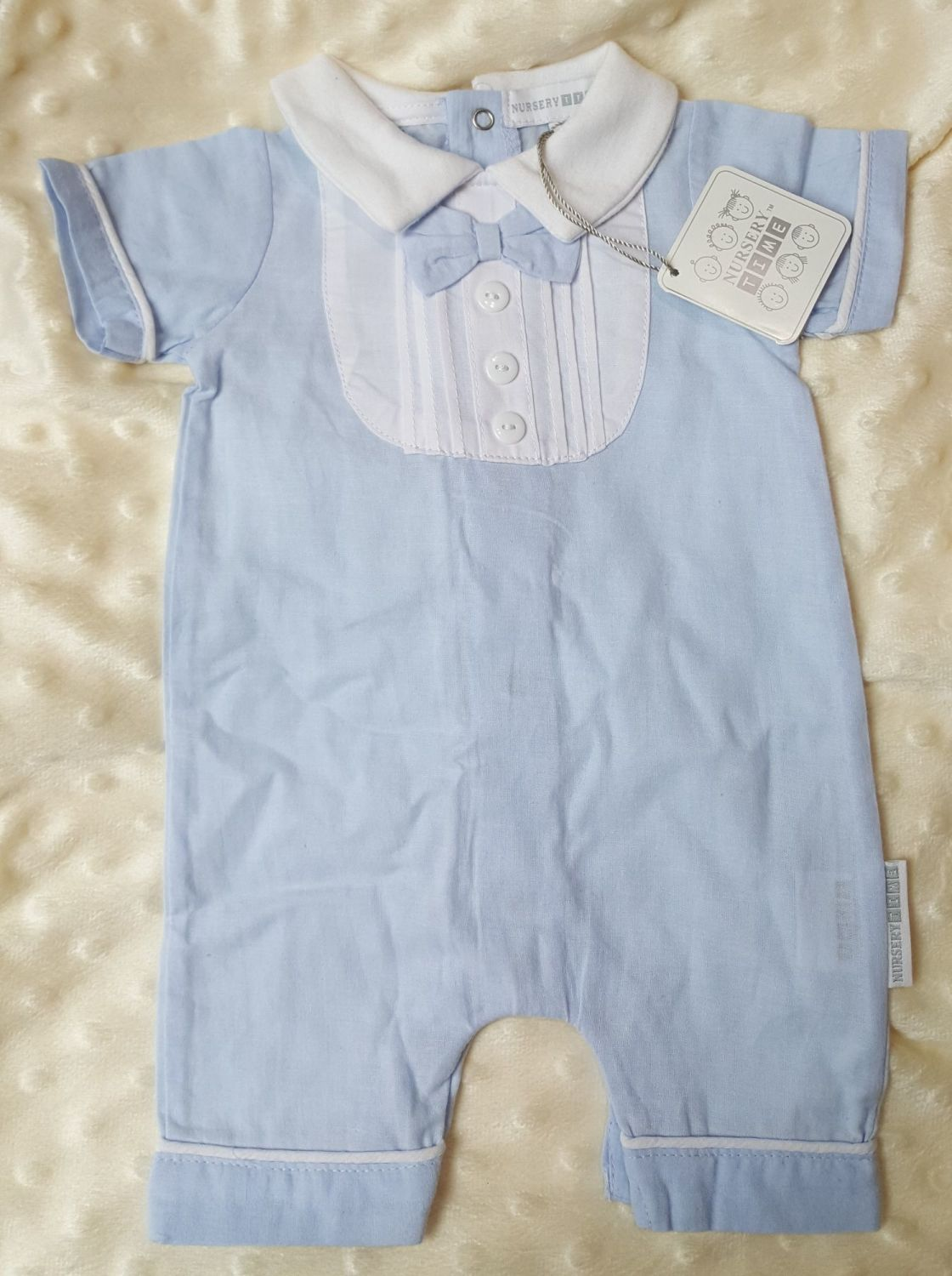 Blue romper with bow tie  NBB-NT100NT