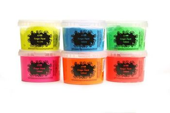Fluorescent Finger Paint - Assorted - 500ml - Pack of 6