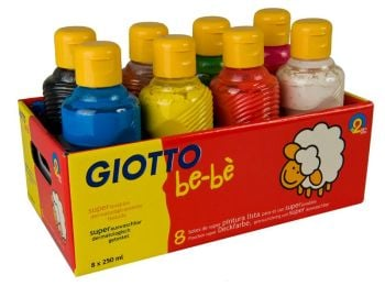 Giotto Be-be' Super Washable Ready Mixed Paint - 250ml - Assorted - Pack of 8