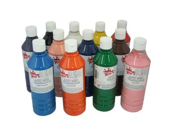 Washable Ready Mixed Paint - Assorted - 500ml - Pack of 12