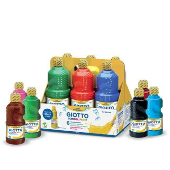 Giotto Washable School Paint - Assorted - 500ml - Pack of 12
