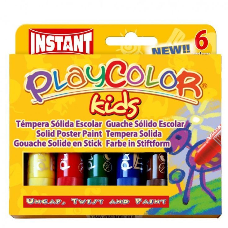 Playcolor Solid Paint Sticks - Assorted - 10g - Pack of 6