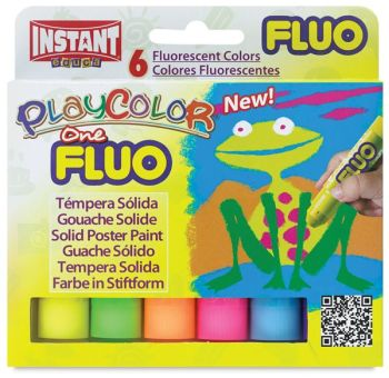Polycolor Fluorescent Solid Paint Sticks - Assorted - 10g - Pack of 6