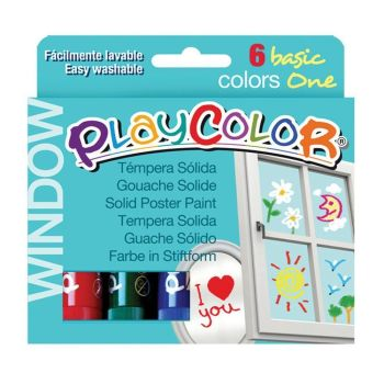 Playcolor Window Paint Sticks - Assorted - 10g - Pack of 6