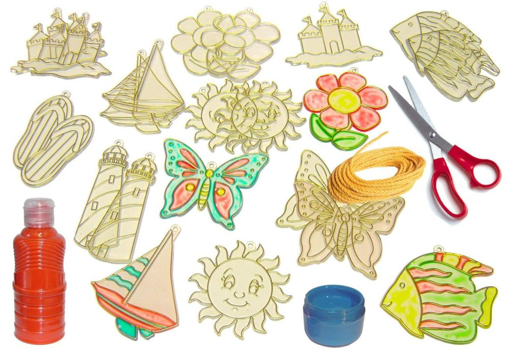 Summertime Glass Painting Decorations - Assorted - Pack of 24
