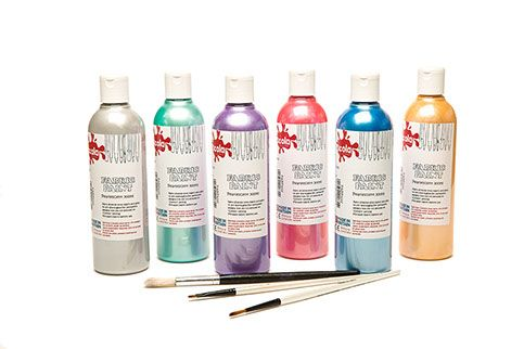 Pearlescent Fabric Paints - Assorted - 300ml - Pack of 6