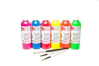 Fluorescent Fabric Paints - Assorted - 300ml - Pack of 6