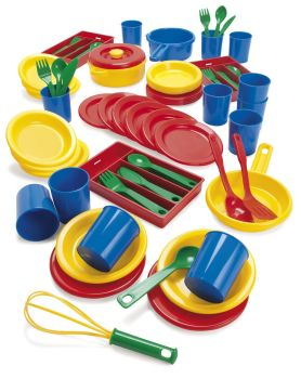 Bumper Plastic Dinner & Kitchen Play Set - Assorted - Pack of 81