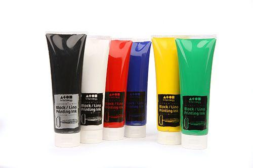 Premium Block Printing Ink - Standard Colour Assorted - 6 x 300ml - Pack of