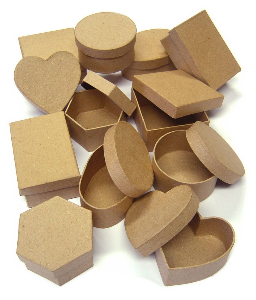 Papier Mache Collage Boxes - Assorted - 8 x 3.5cm - Pack of 12