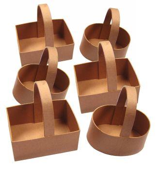 Papier Mache Baskets - Assorted - 10 x 10cm - Pack of 6