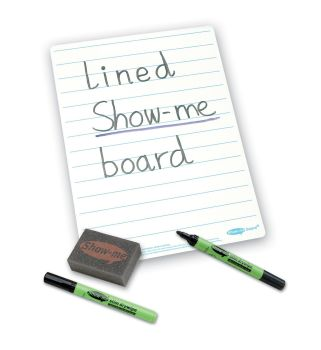 Show-Me A4 Double Sided Lined/Plain Drywipe Board Pack with Pens and Erasers - Pack of 35