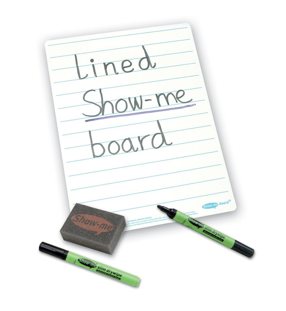 Show-Me A4 Double Sided Lined/Plain Drywipe Board Pack with Pens and Eraser
