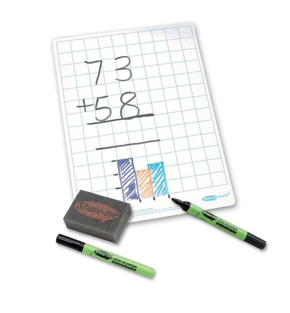 Show-Me A4 Double Sided Gridded/Plain Drywipe Board Pack with Pens and Eras