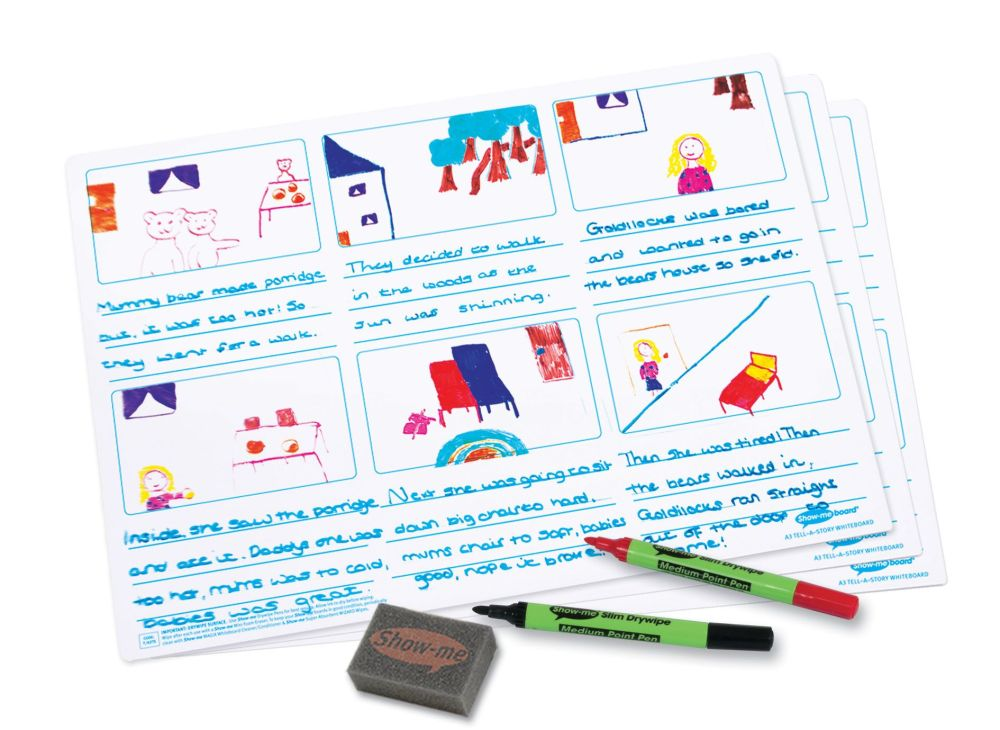 Show-Me A3 Double Sided Tell-a-Story Drywipe Board Pack with Pens and Erase