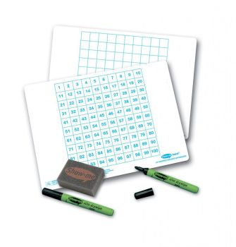 Show-Me A4 Double Sided Hundred Square Grid/Plain Grid Drywipe Board Pack with Pens and Erasers - Pack of 100