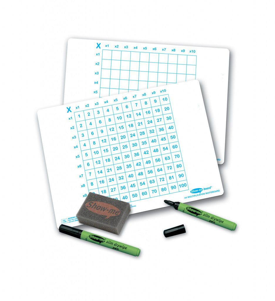 Show-Me A4 Double Sided Multiplication Grid/Plain Grid Drywipe Board Pack w