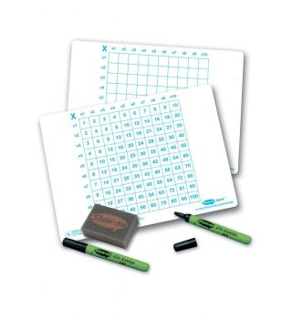Show-Me A4 Double Sided Multiplication Grid/Plain Grid Drywipe Board Pack with Pens and Erasers - Pack of 100