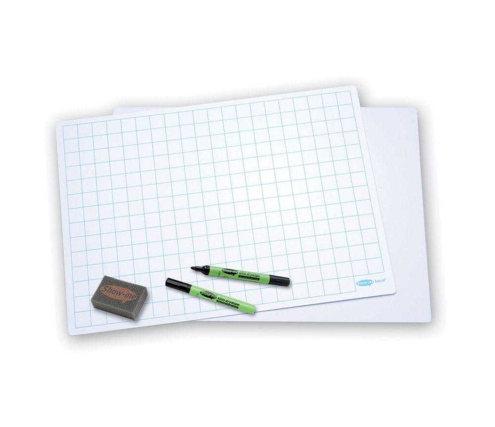 Show-Me A3 Double Sided 20mm Squared/Plain Drywipe Board Pack with Pens and