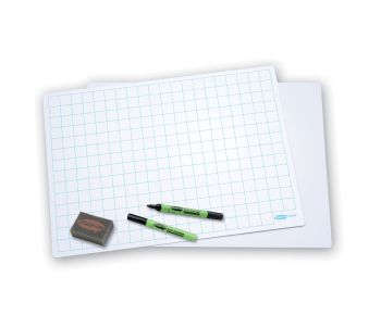Show-Me A3 Double Sided 20mm Squared/Plain Drywipe Board Pack with Pens and Erasers - Pack of 5