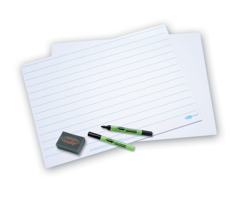 Show-Me A3 Double Sided Lined/Plain Drywipe Board Pack with Pens and  Erasers - Pack of 5