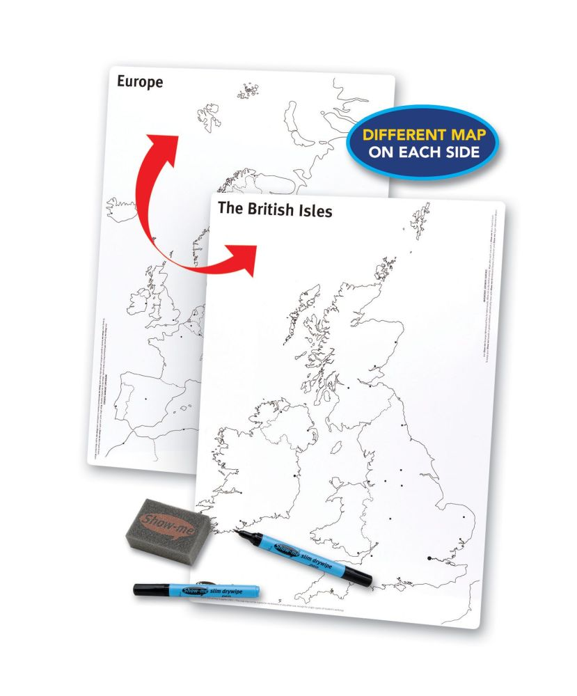 Show-Me A3 Double Sided UK/Europe Drywipe Board Pack with Pens and Erasers