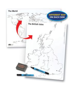 Show-Me A3 Double Sided UK/World Drywipe Board Pack with Pens and Erasers - Pack of 5