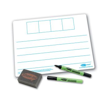 Show-Me A4 Double Sided 4 Frame Phoneme/Plain Drywipe Board Pack with Pens and Erasers - Pack of 100