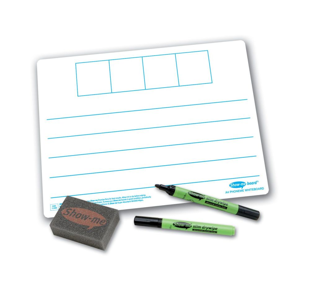 Show-Me A4 Double Sided 4 Frame Phoneme/Plain Drywipe Board Pack with Pens