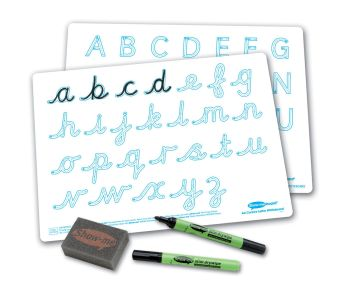 Show-Me A4 Double Sided Cursive Letter Formation Drywipe Board Pack with Pens and Erasers - Pack of 100
