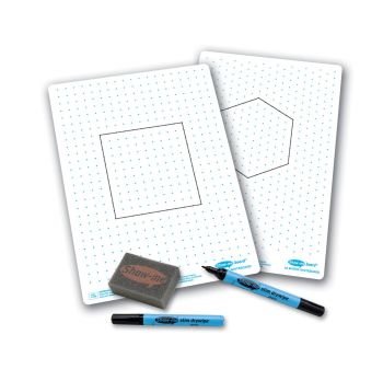 Show-Me A4 Double Sided Isometric Grid/Square Dots Drywipe Board Pack with Pens and Erasers - Pack of 100