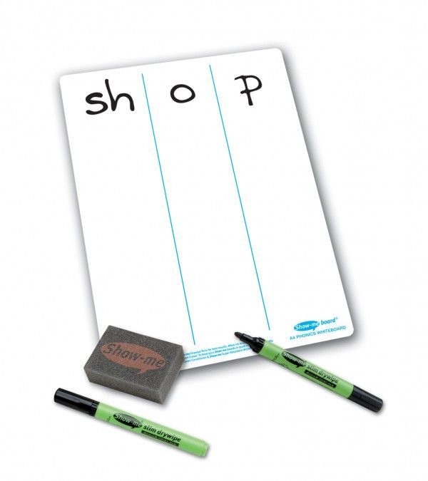 Show-Me A4 Double Sided Phonics Progression/Plain Drywipe Board Pack with P