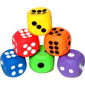 Playmate Inflatable Dice Assorted - Pack of 6 - 10cm