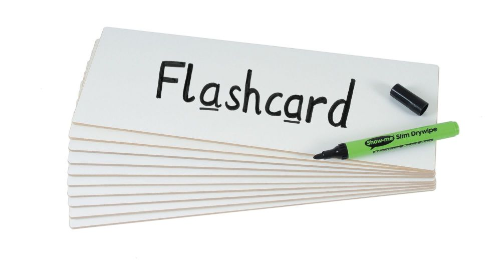 Show-Me Rigid Double Sided Plain Drywipe Flashcards - 297 x 104mm - Pack of