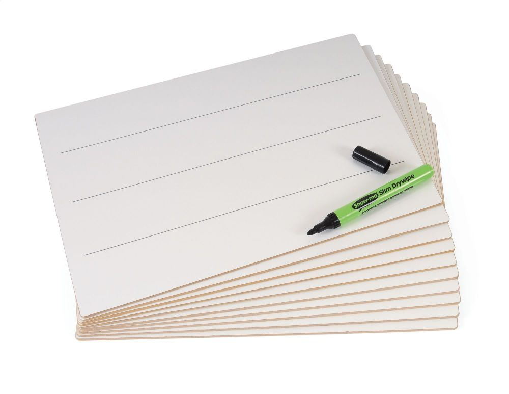 Show-Me Rigid Double Sided A4 Lined/Plain Drywipe Lapboards - Pack of 30