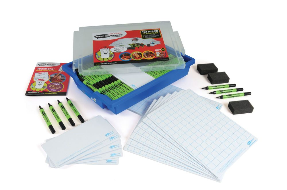 Show-Me A4 Double Sided Squared/Plain Board Class Pack in Blue Gratnell Tra