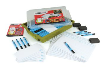 Show-Me A4 Double Sided Handwriting/Plain Drywipe Board Class Pack in Gratnell Tray - Each