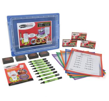 Show-Me Communicator A4+ Drywipe Pockets with Pens & Erasers - Class Pack in a Gratnell Tray